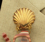 14 karat Gold Plated Magnetic Eyeglass Holder Scallop Shell Solid Brass - Laura Wilson Gallery