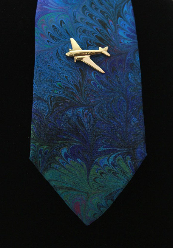 14 Karat Gold Plated Solid Brass Airplane Magnetic Tie Clip Bar or Tack