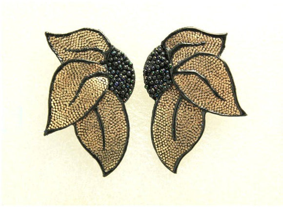 Gold Lame Hand Painted Pierced Fabric Earrings
