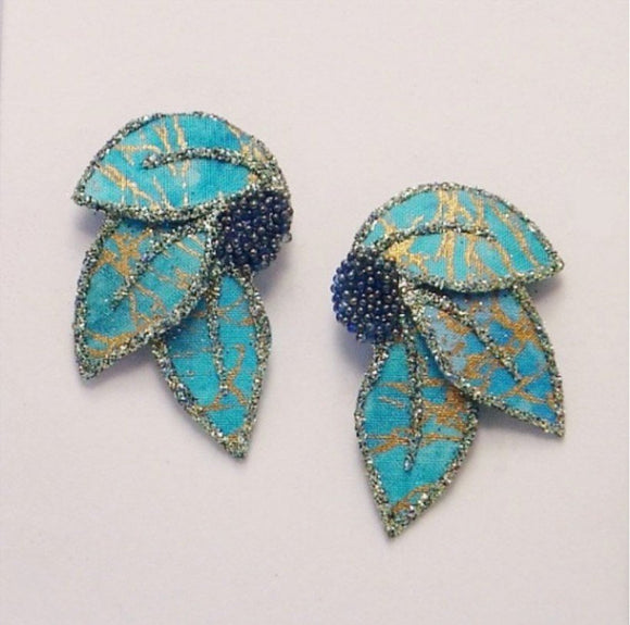 Handmade Green and Gold Batik Fabric Magnetic Non Pierced or Pierced Earrings - Laura Wilson Gallery