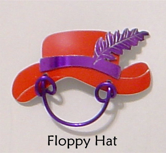 Red Hat and Purple Feather Magnetic Eyeglass Holder - Laura Wilson Gallery