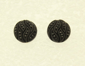 Black Knotted Button  Magnetic Earrings 15 mm - Laura Wilson Gallery