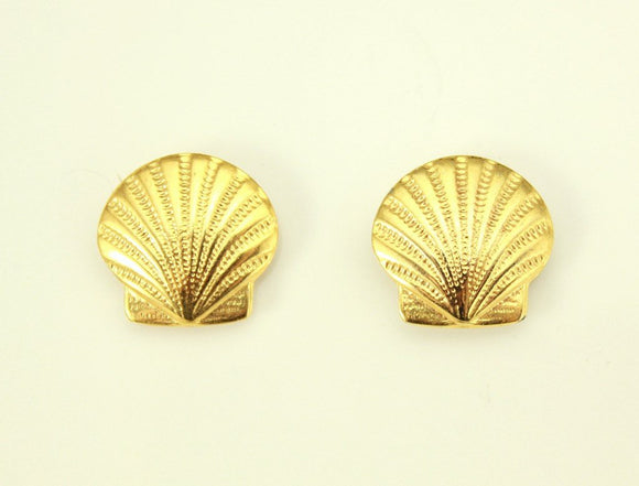 14 mm Scallop Shell Gold or Nickle Plated Magnetic or Pierced Earrings - Laura Wilson Gallery