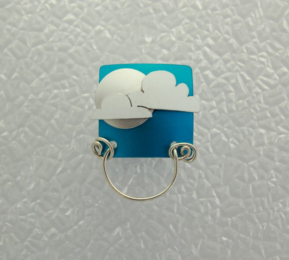 Silver Moon and Clouds Magnetic Eyeglass Holder - Laura Wilson Gallery