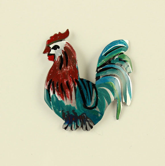 Hand Painted Custom Made Rooster Magnetic Brooch - Laura Wilson Gallery