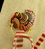 Turkey Magnetic Eyeglass Holder Custom Made Hand Painted - Laura Wilson Gallery