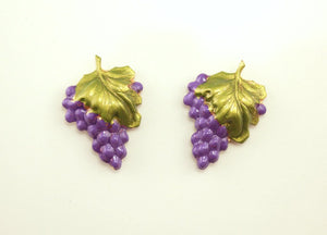 Hand Painted Grape Cluster Magnetic Clip Earrings - Laura Wilson Gallery