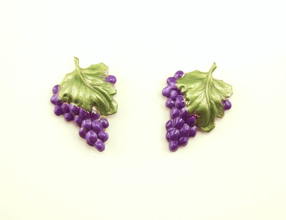 Hand Painted Silver Grape Cluster Magnetic Clip Earrings - Laura Wilson Gallery