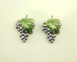 Hand Painted Silver Light Purple Grape Cluster Magnetic Clip Earrings - Laura Wilson Gallery