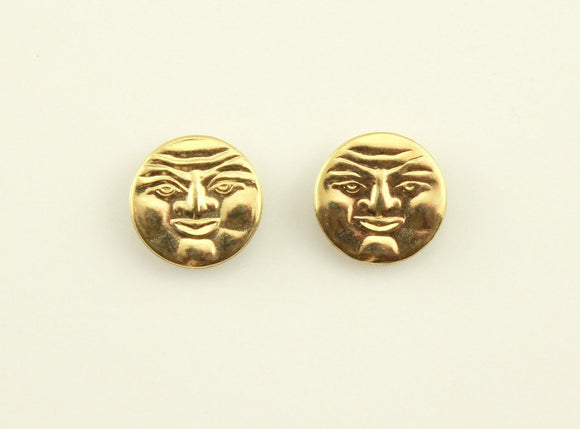 Handmade Man in the Moon Gold Plated Magnetic Non Pierced Clip Earrings - Laura Wilson Gallery