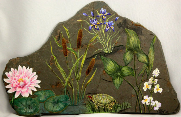 Original Lily Pond Painting on NY State Slate on NY State Granville Slate - Laura Wilson Gallery
