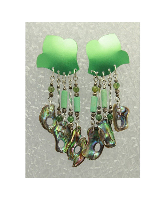 Pierced Earrings Soft Green Aluminum Dangle Earrings with Turquoise and Paua Shell - Laura Wilson Gallery