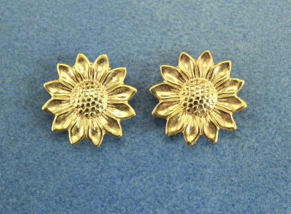 Gold or Silver Sunflower Magnetic Non Pierced Clip Earrings - Laura Wilson Gallery
