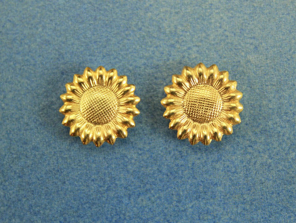 Gold 15 mm Sunflower Magnetic Non Pierced Clip Earrings