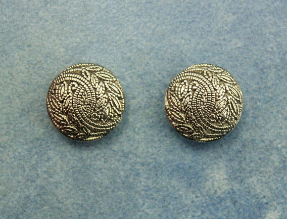 18 MM Magnetic or Pierced Metallic Silver Plastic Button Earrings