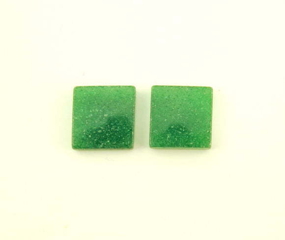 Natural Green Adventurine Stone 13 mm Square Magnetic Non Pierced Clip On Earrings - Laura Wilson Gallery