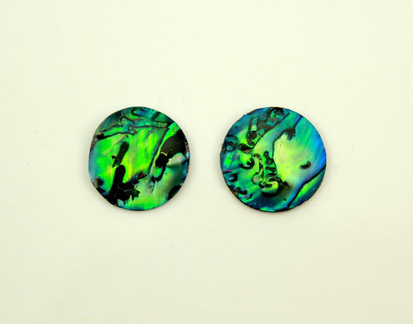 Paua Shell 15 mm Round Magnetic Non Pierced Clip On Earrings - Laura Wilson Gallery