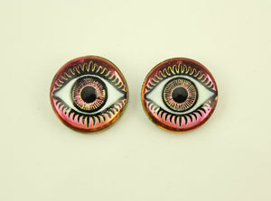 18 mm Medium Dome Red Glass Eyeball Magnetic Earrings - Laura Wilson Gallery