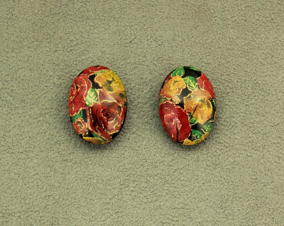 Oval Magnetic Earrings in Rose, Orange, Green, Gold and Black Print 18 x 26 mm