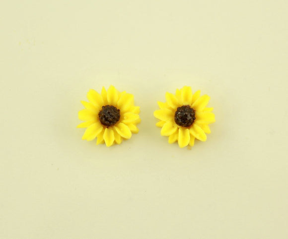 10 mm Round Sunflower in Magnetic or Pierced  Earrings - Laura Wilson Gallery
