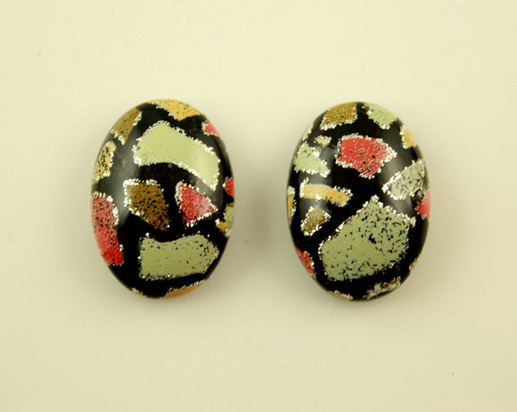 18 x 25 mm Oval Magnetic Earrings in Avocado Green, Coral and Ecru Print