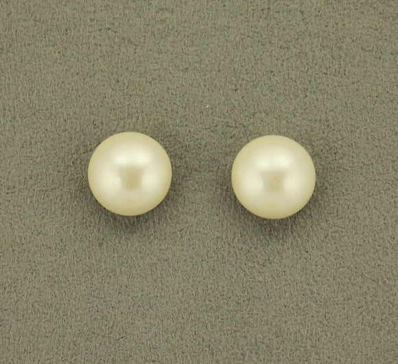 14 mm Low Dome Glass 1/3  Pearl Magnetic or Pierced Earrings