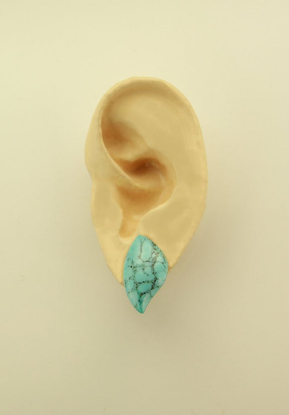 Turquoise Matrix  Low Dome Leaf Magnetic Clip Non Pierced or Pierced Earring - Laura Wilson Gallery