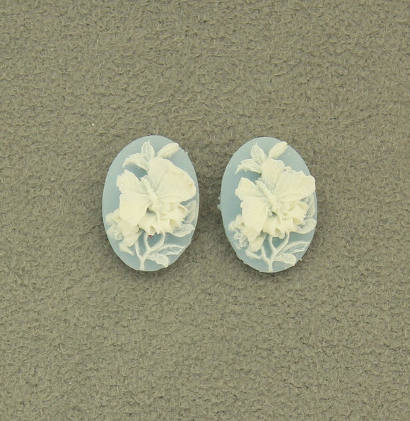 Oval Acrylic Blue and White Butterfly 12 x 18 Cameo Magnetic Earrings - Laura Wilson Gallery