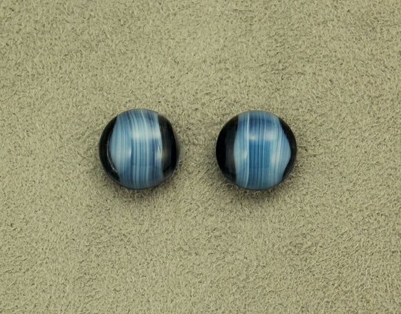 Blue Agate Glass 13 mm Button Magnetic Clip Non Pierced Earrings - Laura Wilson Gallery