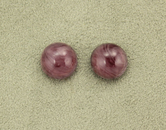13 mm Amethyst Glass Button Magnetic or Pierced Earrings - Laura Wilson Gallery