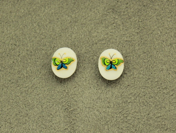 8 x 10 mm Butterfly Glass Magnetic Clip Non Pierced or Pierced Earrings