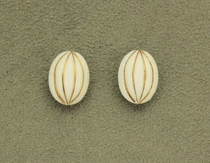 Oval White and Gold Glass Magnetic Clip Non Pierced or Pierced Earrings 14 x 18 mm