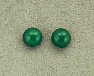 13 mm Green Onyx Glass Button Magnetic Clip On or Pierced Earrings - Laura Wilson Gallery