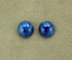 13 mm Lapis Blue Iridescent Glass Button Magnetic Clip or Pierced Earrings - Laura Wilson Gallery
