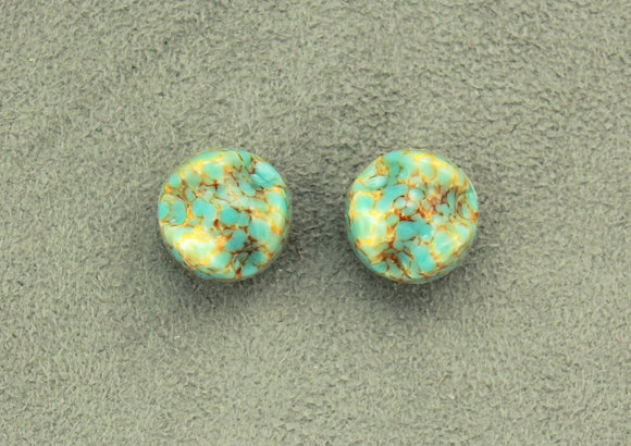 15 mm Turquoise and Gold Glass Magnetic Clip On Earrings