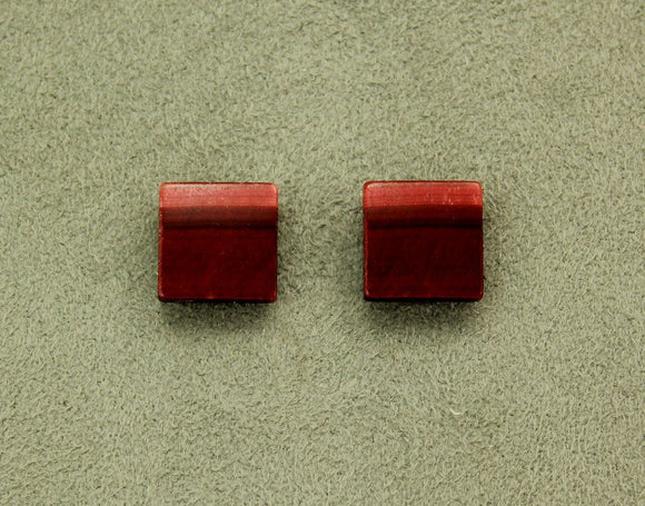 Red Tiger Eye Stone 13 mm  Square Magnetic Earrings - Laura Wilson Gallery