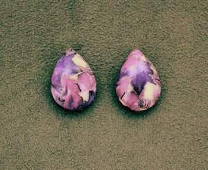 Magnetic 18 x 25  mm Purple or Pink, Mauve, and Silver Teardrop Cabochon Plastic Button Earring - Laura Wilson Gallery