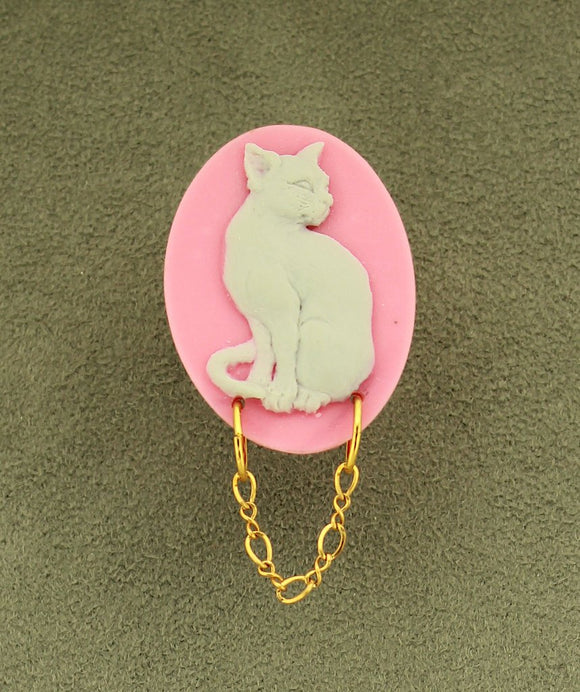 Handmade Acrylic Grey Cat on Pink Oval Magnetic Brooch or Eyeglass Holder - Laura Wilson Gallery