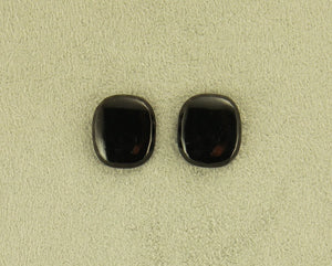 Black Glass 12 x 15 mm Cushion Cut Square Magnetic Non Pierced Clip On Earrings - Laura Wilson Gallery
