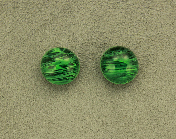 15 mm Green Marble Striped Glass Button Magnetic or Pierced Earrings - Laura Wilson Gallery
