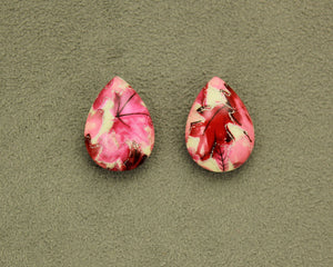 Magnetic 18 x 25  mm Red, Pink , and Silver Teardrop Cabochon Plastic Button Earring - Laura Wilson Gallery