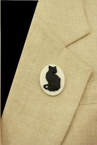 Handmade Black Cat on White Oval Magnetic Brooch or Eyeglass Holder - Laura Wilson Gallery