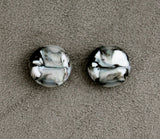 16 mm Black, White and Grey Glass Magnetic Non Pierced Clip Earrings - Laura Wilson Gallery