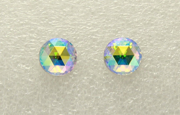 15 mm Iridescent Aurora Borealis Faceted Crystal Magnetic Clip On Earrings - Laura Wilson Gallery