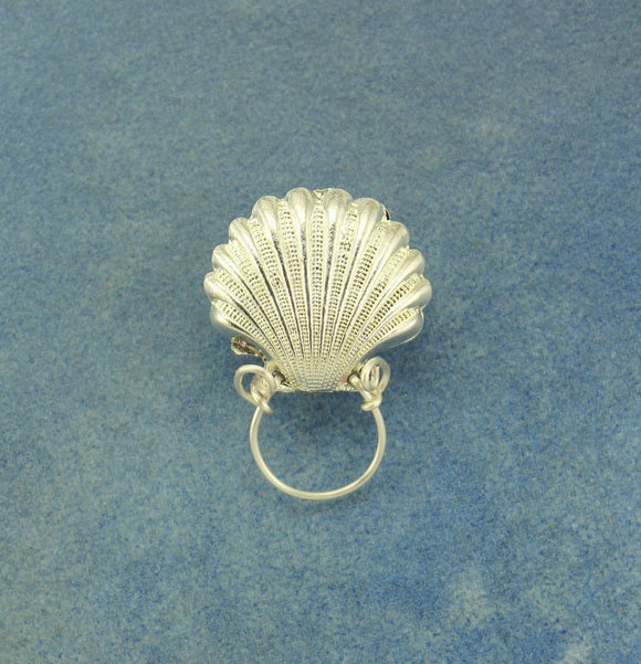 Silver Scallop Shell Magnetic Eyeglass Holder