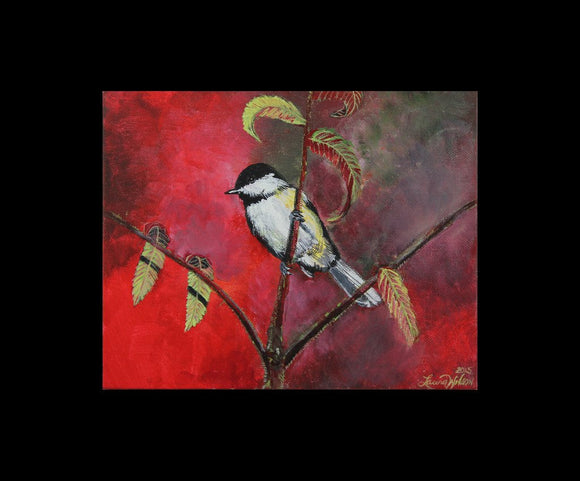 Black Capped Chickadee Original Acrylic Painting on Canvas - Laura Wilson Gallery