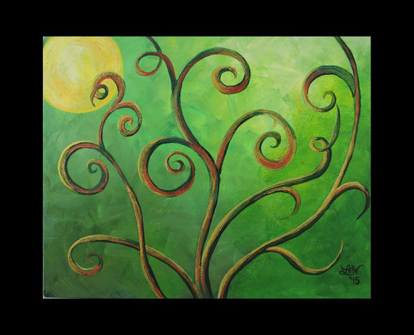 Green Alien Planet Original Acrylic Painting on Canvas Board - Laura Wilson Gallery