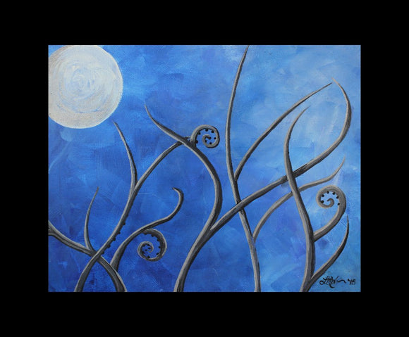 Royal Blue Alien Planet Original Acrylic Painting on Canvas Board - Laura Wilson Gallery