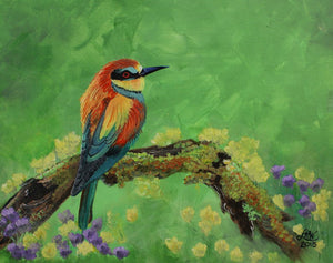 Blue Tailed Bee Eater Original  Acrylic Painting on Canvas Board - Laura Wilson Gallery