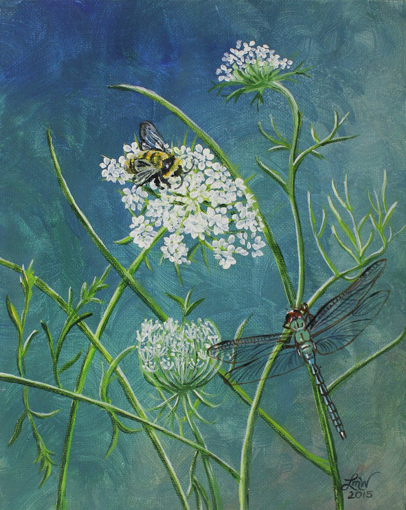 Queen Anne's Lace, Bumblebee and Dragonfly Original  Acrylic Painting on Canvas Board - Laura Wilson Gallery